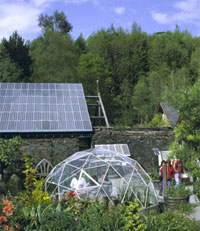 geodesic dome, organic garden and solar roof at the Centre for Alternative Technology near Tyddyn Mawr Farmhouse Bed & Breakfast