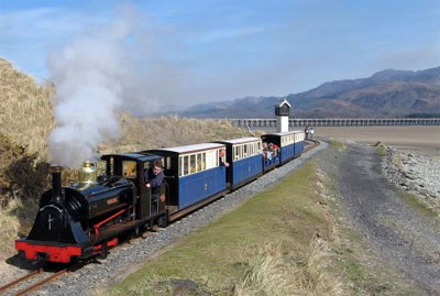 Cadair Idris rises over Fairbourne Railway on the Mawddach Estuary near Barmouth and Tyddyn Mawr Farmhouse Bed & Breakfast