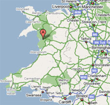 Tyddyn Mawr Farmhouse Bed & Breakfast map showing location in Wales and UK